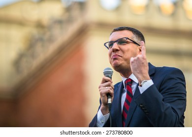 KRAKOW, POLAND - APR 29, 2015: Przemyslaw Wipler - Polish politician, member of Parliament of the VII convocation, during pre-election rally of Janusz Korwin - of presidential candidate of Poland.