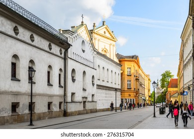 KRAKOW, POLAND - APR 29, 2015: Architecture of the Old town of Krakow, Poland. Old Town of Krakow is one of most famous old areas in Poland