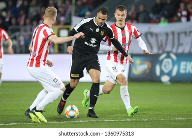 KRAKOW, POLAND - APRIL 02, 2019: Polish Premier Football League Cracovia Krakow - Korona Kielce o/p Felicio Brown Forbes, Oleksii Dytiatiev