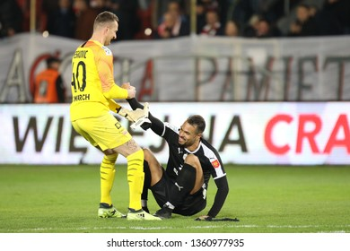 KRAKOW, POLAND - APRIL 02, 2019: Polish Premier Football League Cracovia Krakow - Korona Kielce o/p Michal Peskovic, Felicio Brown Forbes