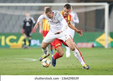 KRAKOW, POLAND - APRIL 05, 2019: Polish Premier Football League Korona Kielce - Zaglebie Lubin o/p Felicio Brown Forbes, Maciej Dabrowski