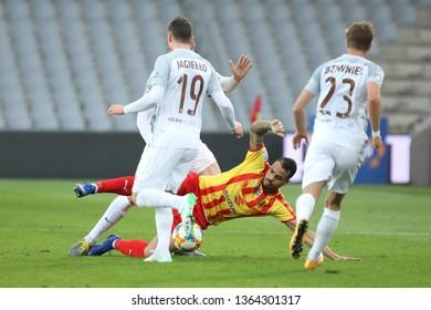 KRAKOW, POLAND - APRIL 05, 2019: Polish Premier Football League Korona Kielce - Zaglebie Lubin o/p Felicio Brown Forbes