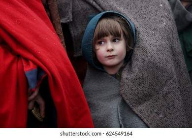KRAKOW, POLAND - APRIL 18, 2017: Unidentified participants of Rekawka, Polish tradition, celebrated in Krakow on Tuesday after Easter. Currently has the character of festival historical reconstruction