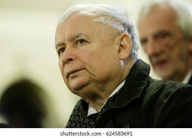 KRAKOW, POLAND - APRIL 18, 2017: Jaroslaw Kaczynski, the leader of the conservative Law in Poland