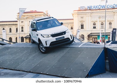 KRAKOW, POLAND, April 18, 2018, Test drive with passengers and obstacles of Land Rover Discovery cars