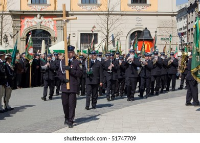 KRAKOW, POLAND - APRIL 25: Funeral for Polish Major General Wlodzimierz Potasinski, commander of the country's special forces who was killed in a plane crash. April 25, 2010 in Krakow, Poland
