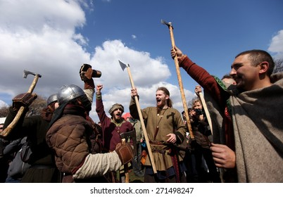 KRAKOW, POLAND - APRIL 7, 2015: Unidentified participants of Rekawka - Polish tradition, celebrated in Krakow on Tuesday after Easter.