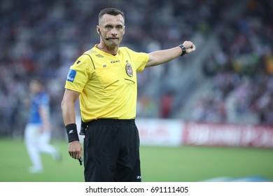 KRAKOW, POLAND - AUGUST 06, 2017: Polish Premier Football League Cracovia Krakow - Lech Poznan o/p Jaroslaw Przybyl