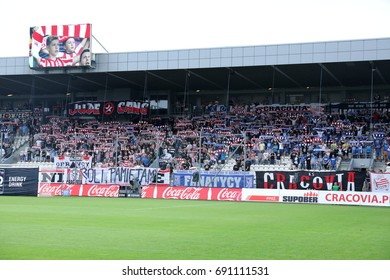 KRAKOW, POLAND - AUGUST 06, 2017: Polish Premier Football League Cracovia Krakow - Lech Poznan o/p fans