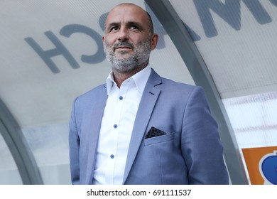 KRAKOW, POLAND - AUGUST 06, 2017: Polish Premier Football League Cracovia Krakow - Lech Poznan o/p Michal Probierz