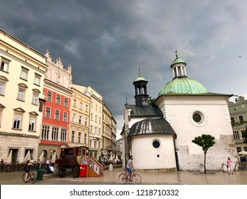 KRAKOW, POLAND - August 10, 2018: Historical buildings on the main Market Square in Krakow Old Town.