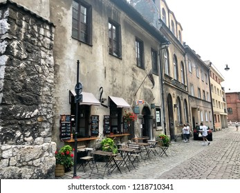 KRAKOW, POLAND - August 10, 2018: A row of old houses in historic Old Jewish Quarter in Kazimierz district of Krakow.