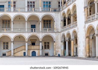 Krakow, Poland - August 13, 2017: view of the beautiful walls with columns of the palace in the castle of Wawel
