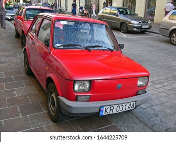 KRAKOW, POLAND, AUGUST 2009. Classic polish made small car FSM Fiat 126p of 1984, based on italian Fiat 126.