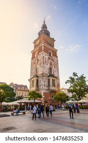 KRAKOW, POLAND - August 2019: City Hall Tower at the main Market Square in the center of Old town of Krakow, Poland