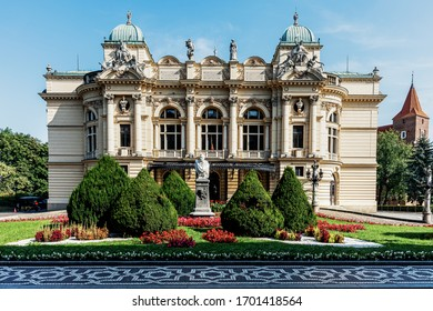 KRAKOW, POLAND - AUGUST 24, 2019: Juliusz Slowacki Theatre in Krakow founded in 1893 in a beautiful Neo-Baroque edifice. The well-known theatre is considered one of the most distinguished Polish scene