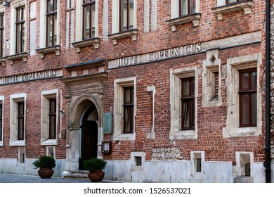 Krakow, Poland -August 31, 2019: Hotel Copernicus in historical part of town