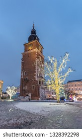 Krakow, Poland, Christmas decoration on Main Market Square and Town Hall tower