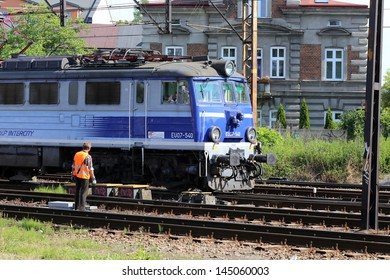 KRAKOW, POLAND, CIRCA 2013 - The locomotive of PKP Intercity (Polish Intercity Railways) on the way circa 2013 in Krakow, Poland