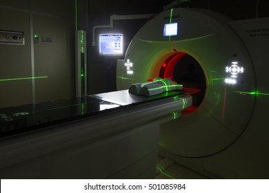 Krakow, Poland, circa May 2016. Siemens tomograph produces verification images of patients in the Cyclotron Center at the Institute of Nuclear Physics. The tomograth localizes a cancerous tumor.