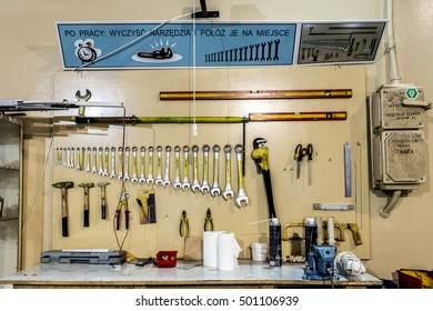Krakow, Poland, circa May 2016. Tool board in the Bronowice Cyclotron Center at the Institute of Nuclear Physics at the Polish Academy of Science in Krakow.