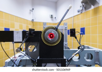 Krakow, Poland, circa May 2016. Proton therapy of eyeball cancer in Bronowice Cyclotron Center at Institute of Nuclear Physics at the Polish Academy of Science in Krakow, Poland. Source of the beam.