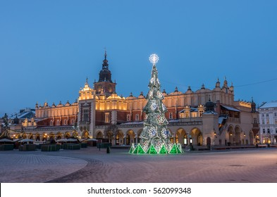 Krakow, Poland, Cloth hall (Sukiennice) and Main Market square with Christmas tree