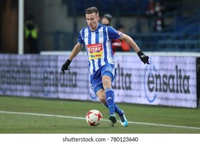 KRAKOW, POLAND - DECEMBER 10, 2017: Polish Premier Football League Wisla Krakow - Wisla Plock o/p Arkadiusz Reca