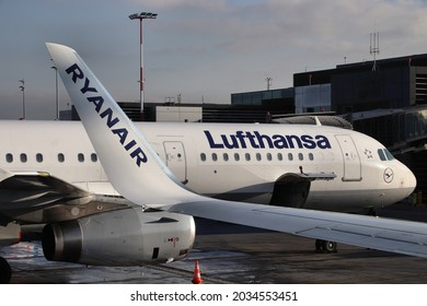 KRAKOW, POLAND - DECEMBER 11, 2019: Lufthansa Airbus A321 aircraft seen from Ryanair low cost plane at Krakow Airport in Poland. It is the second busiest airport in Poland with 5.8m passengers (2017).