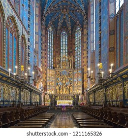 KRAKOW, POLAND - DECEMBER 15, 2016: Chancel and apse of St. Mary's Basilica with altarpiece carved between 1477 and 1484 by the German sculptor Veit Stoss (known in Polish as Wit Stwosz).