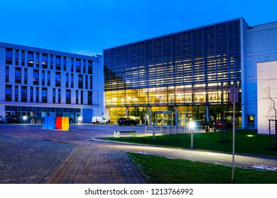 KRAKOW, POLAND - DECEMBER 21, 2017: The Jagiellonian University. The oldest university in Poland, the second oldest university in Central Europe. Modern campus buildings in Krakow, Poland by night.