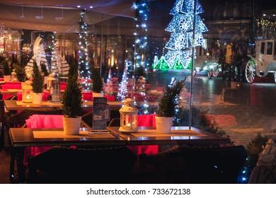 KRAKOW, POLAND - DECEMBER 22, 2016: Restaurant Christmas decorations at the Krakow's Main Square.