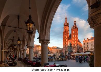 KRAKOW, POLAND - DECEMBER 27, 2017: Saint Mary's Basilica on the main market square at sunset.