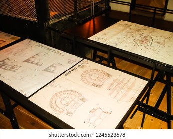 "Krakow, Poland - Feb 14, 2018: Old austrian fortifications plans in Krakow. 19th century documents in the hostel ""Luneta Warszawska"". Hostel is located in the old fortress of 19th century."