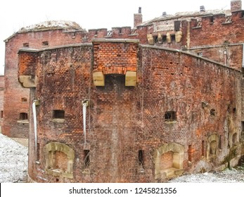 "Krakow, Poland - Feb 14, 2018: Old austrian fortifications in Krakow. Hostel ""Luneta Warszawska"". Touristic accommodation is located in the old fortress of 19th century."