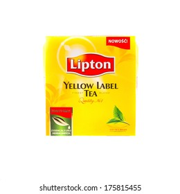 KRAKOW, POLAND - FEB 8, 2014: Studio shot packs of tea Lipton Yellow Label 100 tea bags, isolated on white. Lipton is a world famous brand of tea, founded 1890, named after its founder Thomas Lipton.