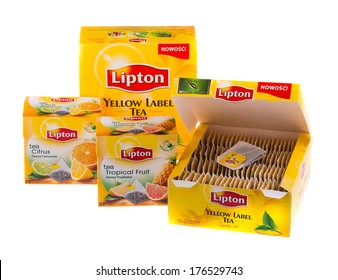 KRAKOW, POLAND - FEB 8, 2014: Studio shot packs of tea Lipton in assortment isolated on white. Lipton is a world famous brand of tea - company founded 1890 and named after its founder Thomas Lipton.