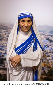KRAKOW, POLAND - FEB 9, 2016: Mother Teresa wax figure of Polonia Wax Museum at Main Market Square. The Wax Museum was opened in 2016, inspired by the organization in Krakow World Youth Day.