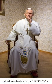 KRAKOW, POLAND - FEB 9, 2016: Pope Saint John Paul II wax figure of Polonia Wax Museum at Main Market Square. The Wax Museum was opened in 2016, inspired by the organization in Krakow World Youth Day.