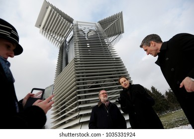 KRAKOW, POLAND - FEBRAUARY 15, 2018 : Daan Roosegaarde at the opening of the Smog Free Tower in Krakow. Smog Free Tower stood in Krakow: the largest smog cleaner