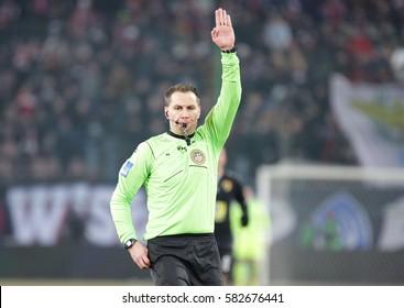 KRAKOW, POLAND - FEBRUARY 11, 2017: Polish Premier Football League Wisla Krakow - Korona Kielce o/p Tomasz Kwiatkowski
