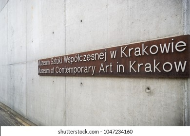 Krakow, Poland - February 13, 2018. Exterior of the Museum of Contemporary Art in Krakow MOCAK