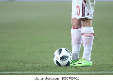 KRAKOW, POLAND - FEBRUARY 17, 2017: Polish Premier Football League Wisla Krakow - Arka Gdynia o/p ball Adidas Telstar Ekstraklasa