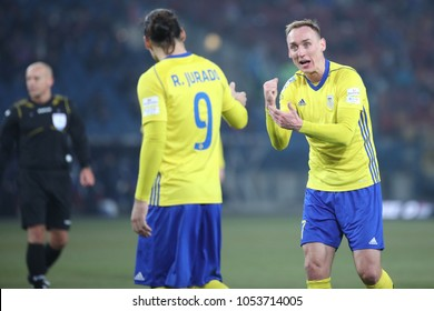 KRAKOW, POLAND - FEBRUARY 17, 2017: Polish Premier Football League Wisla Krakow - Arka Gdynia o/p Adam Marciniak