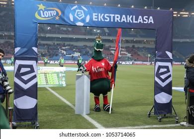KRAKOW, POLAND - FEBRUARY 17, 2017: Polish Premier Football League Wisla Krakow - Arka Gdynia o/p logo Ekstraklasa
