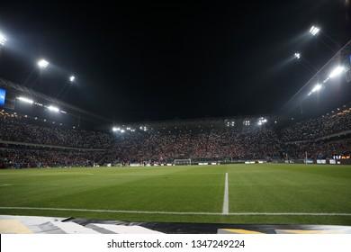 KRAKOW, POLAND - FEBRUARY 17, 2019: Polish Premier Football League Wisla Krakow - Cracovia Krakow o/p football fans Wisla