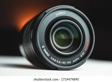 KRAKOW, POLAND - FEBRUARY 17, 2020: Camera photo lens, Panasonic Lumix G VARIO 45-150mm. Telephoto lens for mirrorless cameras.