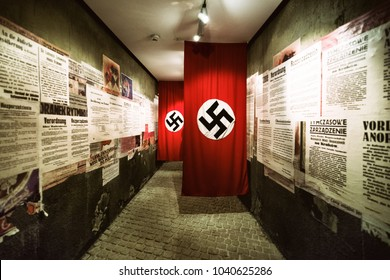 KRAKOW, POLAND - FEBRUARY 19: Swastika - flag in Oskar Schindler's Enamel factory museum on February 19, 2018 in Krakow