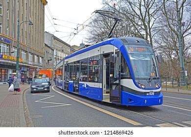 KRAKOW, POLAND - FEBRUARY 24, 2017 - The articulated low-floor Krakowiak tram, operated by MPK Krakow