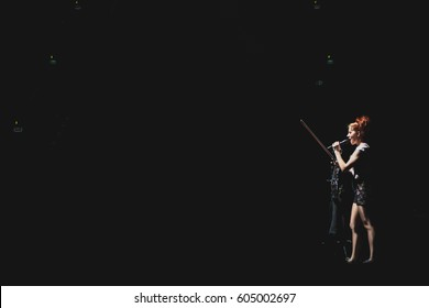KRAKOW, POLAND - FEBRUARY 24, 2017: American violinist and dancer Lindsey Stirling performs in Tauron Arena for her Brave Enough tour.